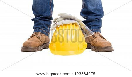 Construction Builder Feet, Helmet And Gloves