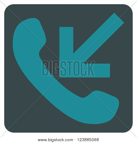 Incoming Call vector symbol. Image style is bicolor flat incoming call iconic symbol drawn on a rounded square with soft blue colors.
