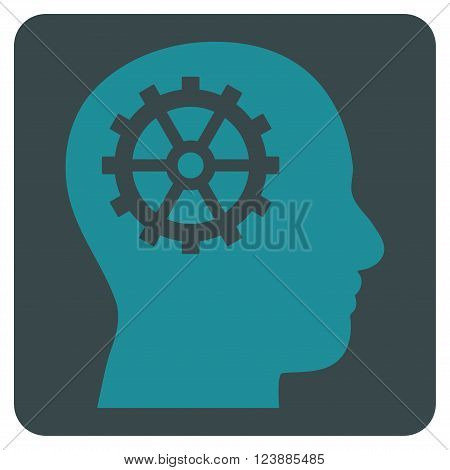 Intellect vector icon symbol. Image style is bicolor flat intellect icon symbol drawn on a rounded square with soft blue colors.