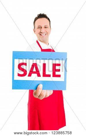 Hypermarket Worker Holding Sale Sign