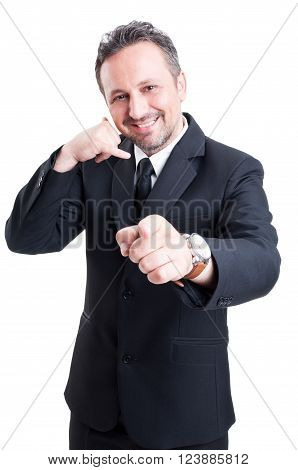 Business Man Making Call Or Calling Gesture