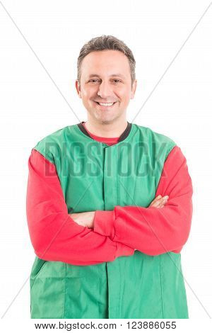 Confident and friendly hypermarket worker or employee