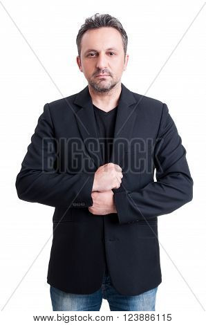 Casual Man Wearing Suit Jacket And Black T-shirt