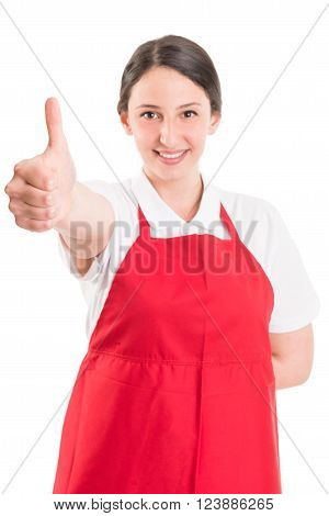 Like gesture by supermarket or hypermarket employee