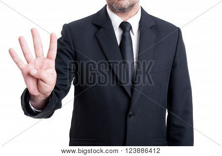 Business Man Showing Number Four With Fingers