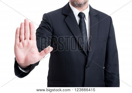 Anonymus Business Man Showing Stop Gesture
