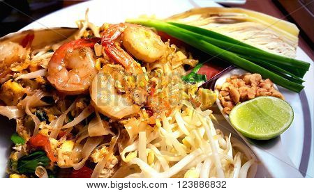 Pad Thai stir-fried rice noodles with shrimps Thailand's national dishes.