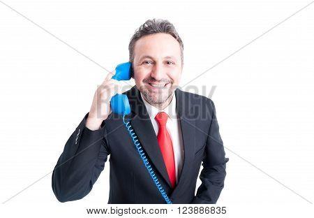 Smiling Sales Man Answering Phone