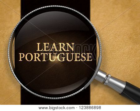 Learn Portuguese through Magnifying Glass on Old Paper with Black Vertical Line Background. 3D Render.