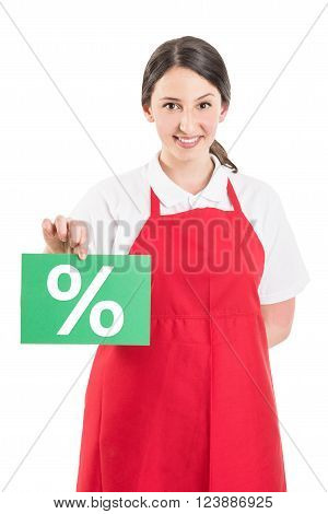 Female Hypermarket Worker Holding Sale Or Discount Sign
