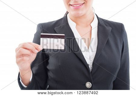 Smiling Elegant Woman Holding A Credit Or Debit Card