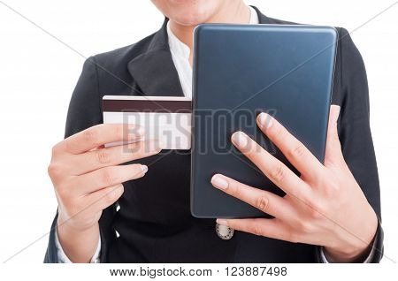 Buy Online Concept With Credit Card And Internet Tablet