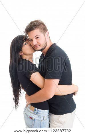 Girl Kising Boy On The Cheek