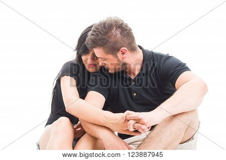 Young couple inlove having a romantic and tender moment