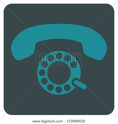 Pulse Dialing vector symbol. Image style is bicolor flat pulse dialing pictogram symbol drawn on a rounded square with soft blue colors.