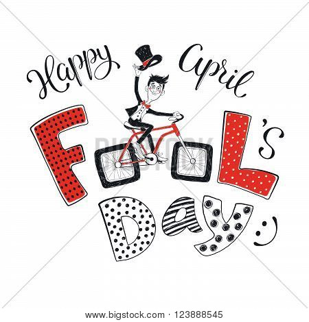 Fun illustration for April Fool's Day. Happy guy in suit on bicycle hand drawn on white background. Comic concept of bicycle with square wheels.