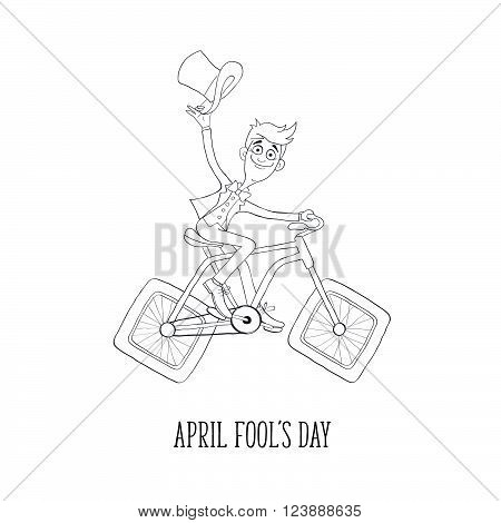 Fun illustration of guy in suit on bicycle. Comic concept of bicycle with square wheels. Cartoon bicyclist in sketch stile isolated on white background. Hand drawn greeting card for April Fool's Day.