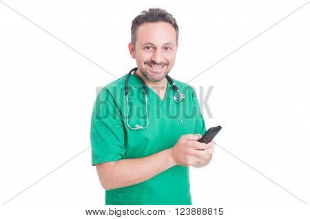 Young And Modern Doctor Using Smartphone