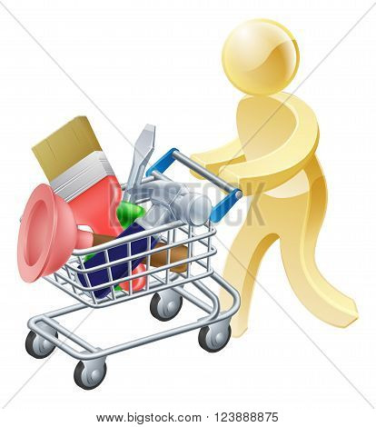Person With Tools Shopping Cart
