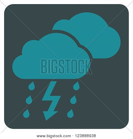 Thunderstorm vector symbol. Image style is bicolor flat thunderstorm pictogram symbol drawn on a rounded square with soft blue colors.