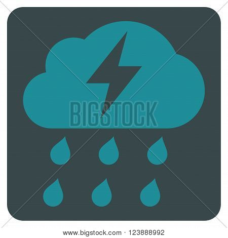 Thunderstorm vector icon symbol. Image style is bicolor flat thunderstorm pictogram symbol drawn on a rounded square with soft blue colors.