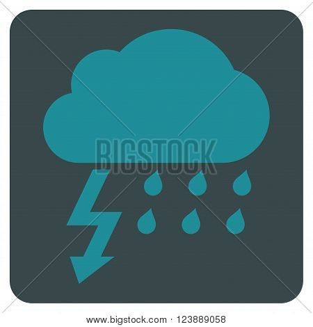 Thunderstorm vector icon symbol. Image style is bicolor flat thunderstorm iconic symbol drawn on a rounded square with soft blue colors.