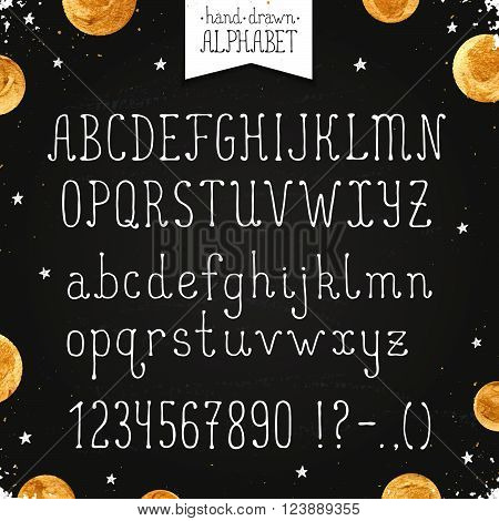 Hand drawn narrow alphabet. Uppercase and lowercase thin letters and numbers on chalkboard. Handdrawn typography. Narrow doodle font with golden dots.