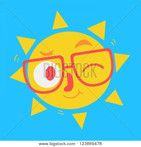 Vector illustration of a cartoon Sun wearing glasses smiling and winking.