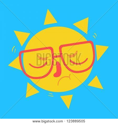 Vector illustration of a cartoon Sun wearing glasses with closed eyes and disappointed expression.