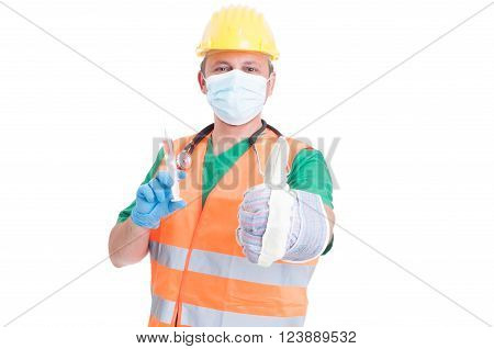 Find the perfect job concept with man wearing doctor medic builder and engineer clothes