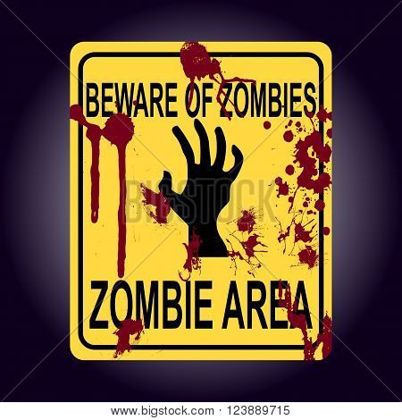 Sign Of Zombie Area. Zombie Hand Silhouette