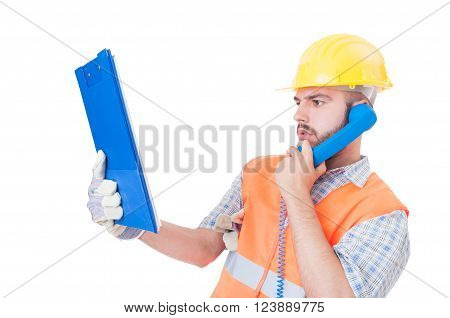 Busy Builder Using Phone On White Copy Space