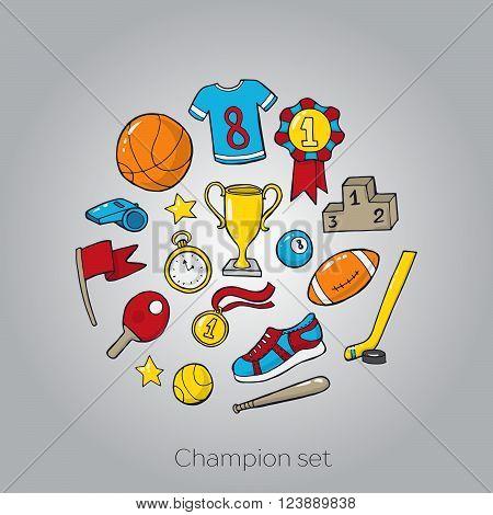 Set of different sport equipment. Vector illustration