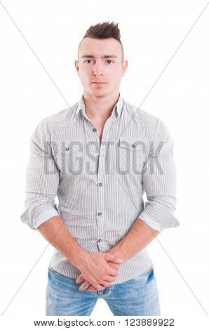 Strong male model posing on white background wearing casual clothes like jeans and shirt