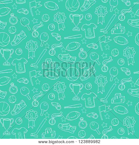 Seamless Pattern With Sport Equipment