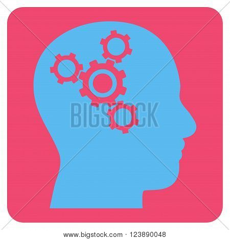Brain Mechanics vector icon. Image style is bicolor flat brain mechanics iconic symbol drawn on a rounded square with pink and blue colors.