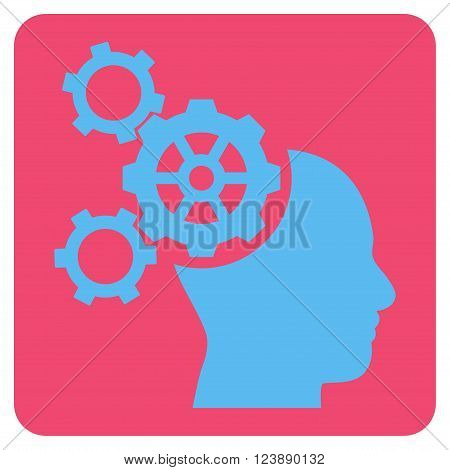 Brain Mechanics vector symbol. Image style is bicolor flat brain mechanics pictogram symbol drawn on a rounded square with pink and blue colors.