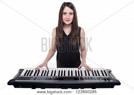 Brunette woman and synthesizer on white background
