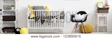 Baby Room In Black, Yellow And White
