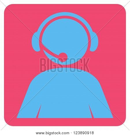 Call Center Operator vector pictogram. Image style is bicolor flat call center operator pictogram symbol drawn on a rounded square with pink and blue colors.