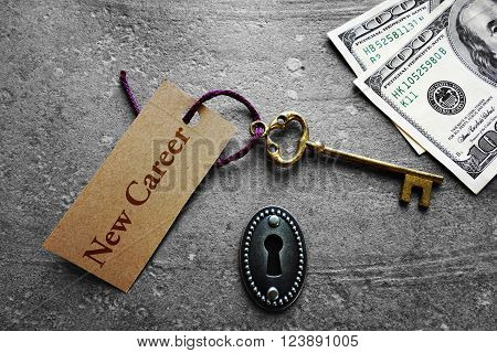 Vintage key with New Career tag and money