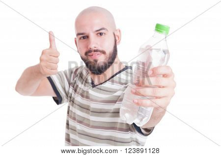 Man Holding Bottle Of Cold Water And Showing Like Gesture