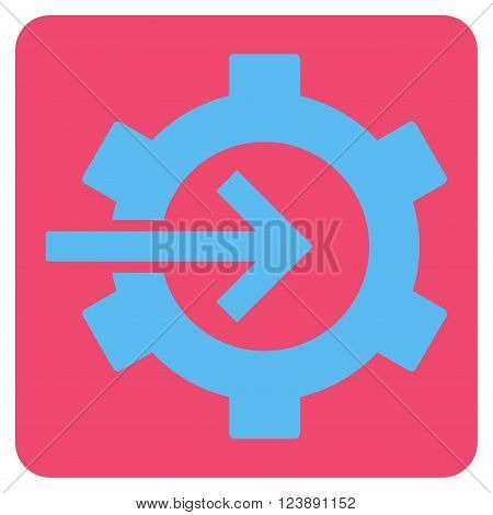 Cog Integration vector icon symbol. Image style is bicolor flat cog integration icon symbol drawn on a rounded square with pink and blue colors.