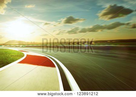 Motion blurred racetrack , vintage mood mood