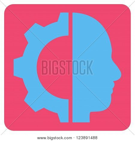 Cyborg Gear vector icon symbol. Image style is bicolor flat cyborg gear icon symbol drawn on a rounded square with pink and blue colors.