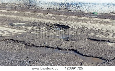 Large Pit On The Suburban Road