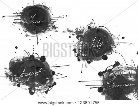 Set of names of summer month: june july august drawn by hand with liquid ink dye in freehand style. Large raster illustration grainy stylish with blobs and brush smears isolated on white.