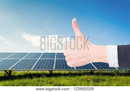 Like Gesture On Power Plant Or Photovoltaic Field Background