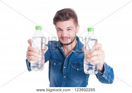 Handsome Male Model Holding Two Bottles Of Cold Water