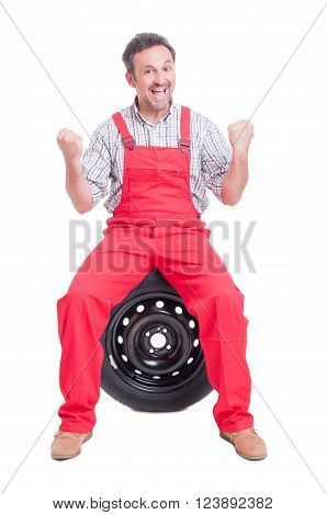 Excited And Enthusiastic Mechanic Shouting For Joy